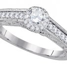 WOMENS DIAMOND ENGAGEMENT HALO RING ROUND SHAPE CUT .68 CARAT 14K WHITE GOLD