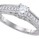 WOMENS DIAMOND ENGAGEMENT RING ROUND SHAPE CUT .68 CARAT 14K WHITE GOLD