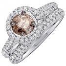 WOMENS CHAMPAGNE DIAMOND ENGAGEMENT HALO RING WEDDING BAND BRIDAL SET ROUND CUT