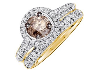 WOMENS BROWN DIAMOND ENGAGEMENT HALO RING WEDDING BAND BRIDAL SET ROUND CUT