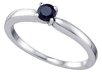 BLACK DIAMOND PROMISE ENGAGEMENT RING BRILLIANT ROUND CUT WHITE GOLD