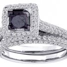 WOMENS BLACK DIAMOND ENGAGEMENT HALO RING WEDDING BAND BRIDAL SET PRINCESS CUT