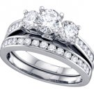 WOMENS 3-STONE BRILLIANT ROUND DIAMOND ENGAGEMENT RING WEDDING BAND BRIDAL SET