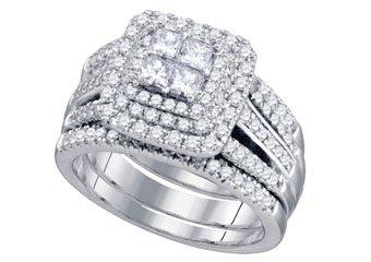 WOMENS DIAMOND ENGAGEMENT HALO RING WEDDING BAND BRIDAL SET 1.56 CARAT PRINCESS