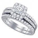 WOMENS DIAMOND ENGAGEMENT HALO RING WEDDING BAND BRIDAL SET 1.25 CARAT PRINCESS