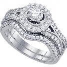 WOMENS DIAMOND ENGAGEMENT HALO RING WEDDING BAND BRIDAL SET 1 CARAT ROUND CUT