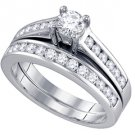 WOMENS DIAMOND ENGAGEMENT RING WEDDING BAND BRIDAL SET 1 CARAT BRILLIANT ROUND