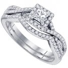 WOMENS DIAMOND ENGAGEMENT RING WEDDING BAND BRIDAL SET .66 CARAT PRINCESS CUT