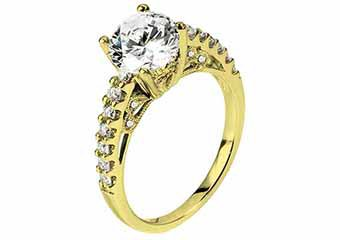 WOMENS DIAMOND ENGAGEMENT RING ROUND CUT 1.41 CARAT 18K YELLOW GOLD
