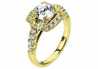 WOMENS DIAMOND ENGAGEMENT HALO RING ROUND CUT 1.84 CARAT 18K YELLOW GOLD
