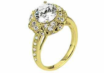 WOMENS DIAMOND ENGAGEMENT HALO RING ROUND CUT 1.98 CARAT 18K YELLOW GOLD