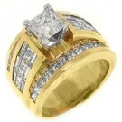 5 CARAT WOMENS DIAMOND ENGAGEMENT RING PRINCESS CUT INVISIBLE YELLOW GOLD