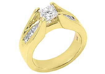 1.7 CARAT WOMENS DIAMOND ENGAGEMENT WEDDING RING PRINCESS SQUARE CUT YELLOW GOLD