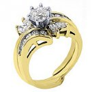 1.56 CARAT WOMENS DIAMOND ENGAGEMENT WEDDING RING ROUND MARQUISE CUT YELLOW GOLD