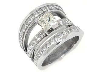 6 CARAT WOMENS DIAMOND ENGAGEMENT WEDDING RING PRINCESS SQUARE CUT WHITE GOLD