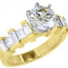 2 CARAT WOMENS DIAMOND ENGAGEMENT WEDDING RING ROUND PRINCESS CUT YELLOW GOLD