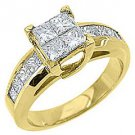 1.61CT WOMENS DIAMOND ENGAGEMENT WEDDING RING PRINCESS CUT INVISIBLE YELLOW GOLD