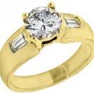 1.67 CARAT WOMENS DIAMOND ENGAGEMENT WEDDING RING ROUND BAGUETTE CUT YELLOW GOLD