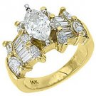 3 CARAT WOMENS DIAMOND ENGAGEMENT WEDDING RING MARQUISE BAGUETTE CUT YELLOW GOLD