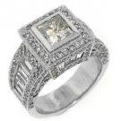 4 CARAT WOMENS DIAMOND ENGAGEMENT WEDDING HALO RING PRINCESS CUT WHITE GOLD