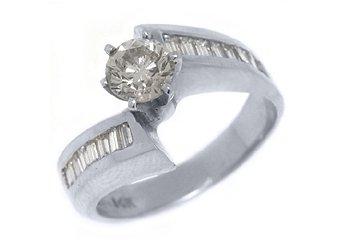 1.46 CARAT WOMENS DIAMOND ENGAGEMENT WEDDING RING ROUND BAGUETTE CUT WHITE GOLD