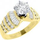 3 CARAT WOMENS DIAMOND ENGAGEMENT WEDDING RING ROUND BAGUETTE CUT YELLOW GOLD