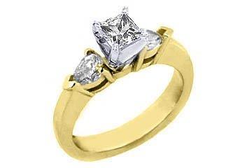1 CARAT WOMENS DIAMOND ENGAGEMENT WEDDING RING PRINCESS PEAR SHAPE YELLOW GOLD