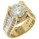 6 CARAT WOMENS DIAMOND ENGAGEMENT WEDDING RING ROUND BAGUETTE CUT YELLOW GOLD