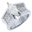 4 CARAT WOMENS DIAMOND ENGAGEMENT RING MARQUISE PRINCESS INVISIBLE WHITE GOLD
