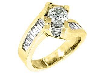 2.38 CARAT WOMENS DIAMOND ENGAGEMENT WEDDING RING ROUND BAGUETTE CUT YELLOW GOLD
