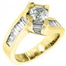 2.38 CARAT WOMENS DIAMOND ENGAGEMENT WEDDING RING ROUND BAGUETTE CUT YELLOW GOLD