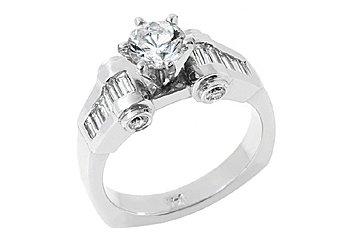 1.83 CARAT WOMENS DIAMOND ENGAGEMENT WEDDING RING ROUND BAGUETTE CUT WHITE GOLD