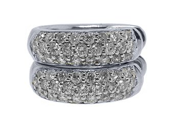 WOMENS 3/4 CARAT BRILLIANT ROUND CUT DIAMOND HOOP EARRINGS WHITE GOLD