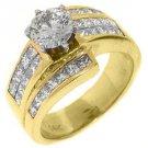 2.68 CARAT WOMENS DIAMOND ENGAGEMENT WEDDING RING ROUND PRINCESS CUT YELLOW GOLD