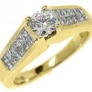 1.5 CARAT WOMENS DIAMOND ENGAGEMENT WEDDING RING ROUND PRINCESS CUT YELLOW GOLD