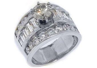 3.6 CARAT WOMENS DIAMOND ENGAGEMENT WEDDING RING ROUND BAGUETTE CUT WHITE GOLD