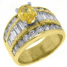 3 CARAT WOMENS FANCY YELLOW DIAMOND ENGAGEMENT RING OVAL SHAPE YELLOW GOLD