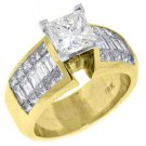 3.5CT WOMENS DIAMOND ENGAGEMENT WEDDING RING PRINCESS CUT INVISIBLE YELLOW GOLD