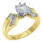 1.28 CARAT WOMENS DIAMOND ENGAGEMENT WEDDING RING ROUND PRINCESS CUT YELLOW GOLD