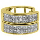 WOMENS 1 CARAT PRINCESS SQUARE CUT DIAMOND HOOP EARRINGS YELLOW GOLD