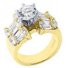 3.5 CARAT WOMENS DIAMOND ENGAGEMENT RING ROUND MARQUISE BAGUETTE CUT YELLOW GOLD