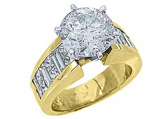 6 CARAT WOMENS DIAMOND ENGAGEMENT RING ROUND PRINCESS BAGUETTE CUT YELLOW GOLD