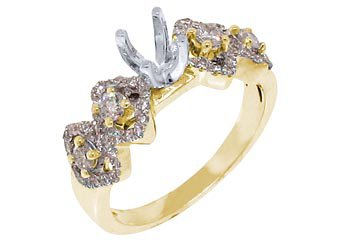 .73 CARAT WOMENS DIAMOND ENGAGEMENT RING SEMI-MOUNT ROUND CUT YELLOW GOLD