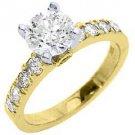 1.7 CARAT WOMENS DIAMOND ENGAGEMENT WEDDING RING BRILLIANT ROUND CUT YELLOW GOLD