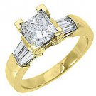 1.6CT WOMENS DIAMOND ENGAGEMENT WEDDING RING PRINCESS BAGUETTE CUT YELLOW GOLD