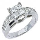 1.61CT WOMENS DIAMOND ENGAGEMENT WEDDING RING PRINCESS CUT INVISIBLE WHITE GOLD