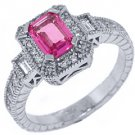 WOMENS PINK SAPPHIRE DIAMOND ENGAGEMENT HALO RING EMERALD ROUND CUT WHITE GOLD