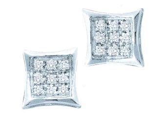 .05 CARAT PRINCESS SQUARE KITE MICROPAVE DIAMOND STUD EARRINGS 925 SILVER 57289