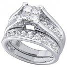 WOMENS DIAMOND ENGAGEMENT RING WEDDING BAND BRIDAL SET .90 CARAT SQUARE CUT