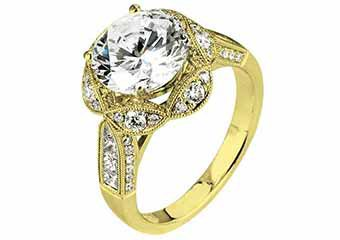 WOMENS DIAMOND ENGAGEMENT HALO RING ROUND CUT 1.83 CARAT 18K YELLOW GOLD